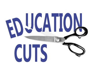 Budget cuts, Education, with scissors, isolated on white